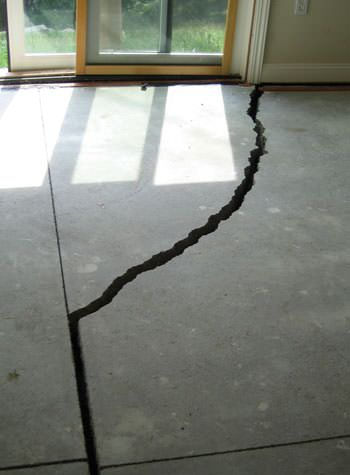 severely cracked foundation slab floor in Columbus
